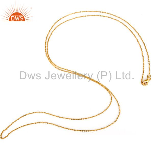 18K Yellow Gold Plated Sterling Silver Cable Link Chain Necklace