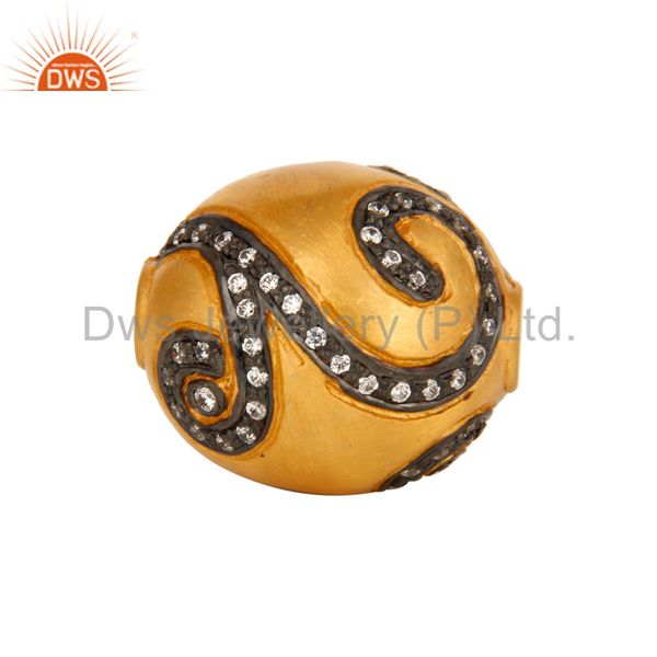 Designer Yellow Gold Plated Round Beads Sphere Finding Sterling Silver Jewelry