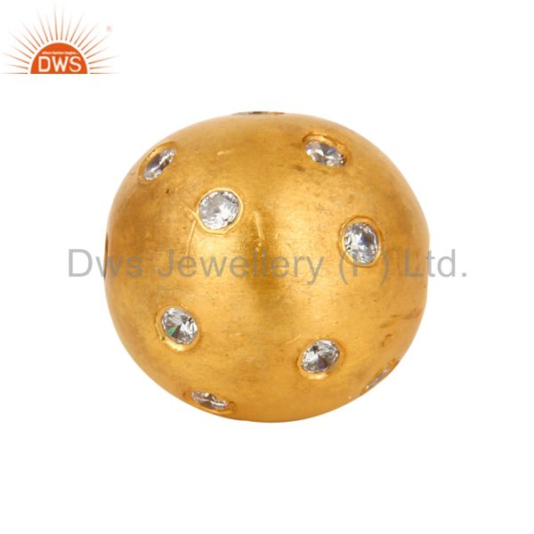 18K Gold-Plated Sterling Silver High Polished White Cubic Zirconia Beads Jewelry