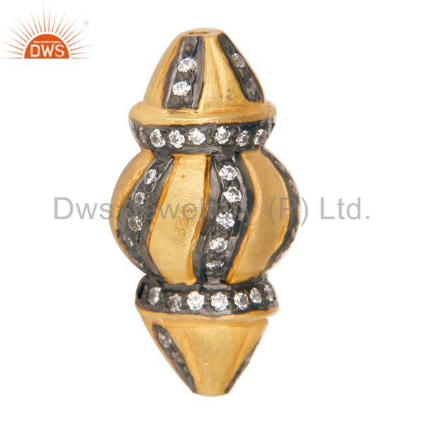 White Zircon Gold Plated Sterling Silver Designer Bead Finding Charm Jewelry