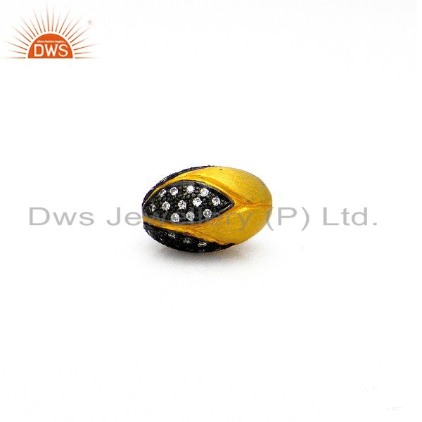 925 Sterling Silver Round Pave CZ Diamond Bead With Yellow Gold Plating