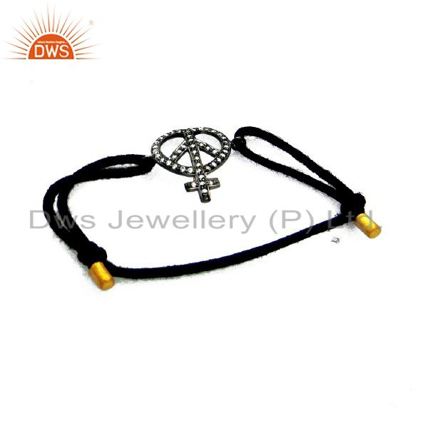 18K Gold Plated Sterling Silver CZ Peace Sign Connector Charm Macrame Bracelet