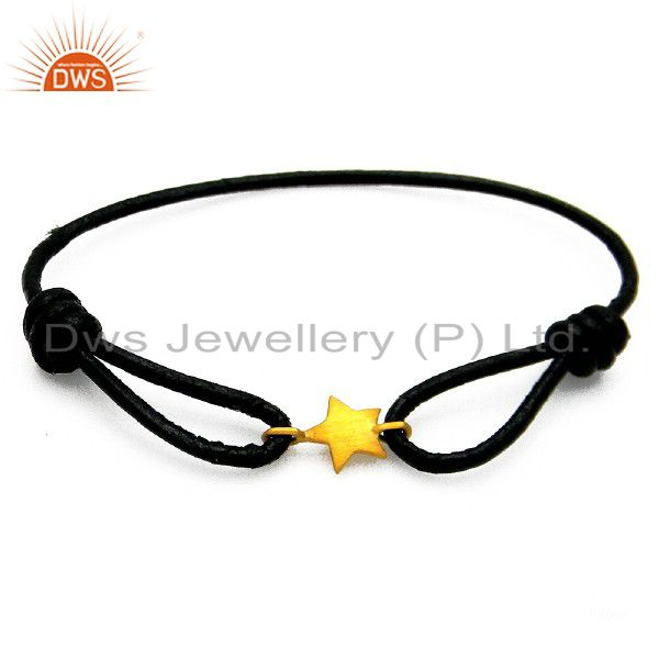 22K Yellow Gold Plated Sterling Silver Star Charm Black Cord Adjustable Bracelet