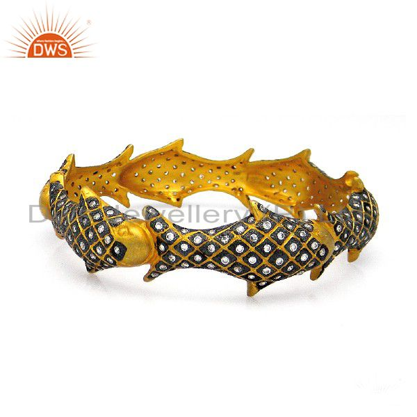 22K Yellow Gold Plated Sterling Silver Cubic Zirconia Fish Designer Bangle