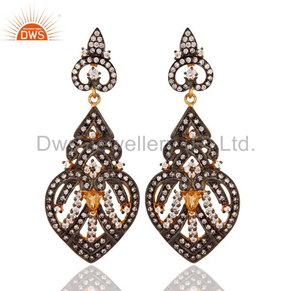 18K Gold Plated 925 Sterling Silver Citrine & White Zircon Antique Look Earring