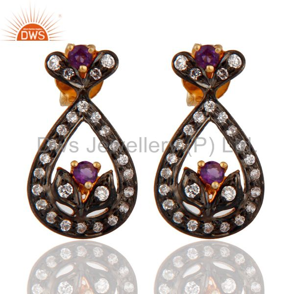 Designer Cubic Zirconia CZ Gold Plated Sterling Silver Amethyst Post Earrings