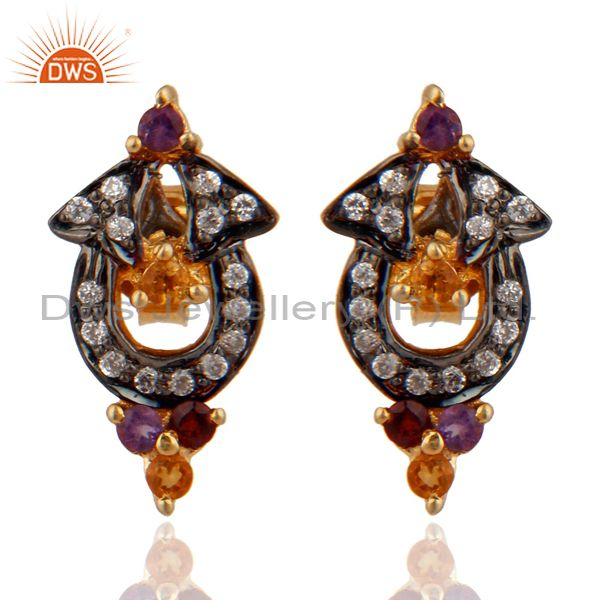 925 Sterling Silver Multi Color Gemstone Designer Stud Earring With Gold Plated