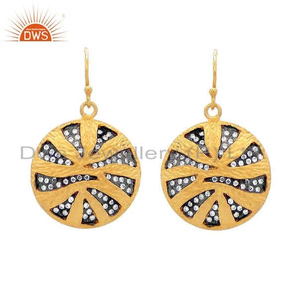 22K Gold Plated Sterling Silver Cubic Zirconia Textured Disc Design Earrings