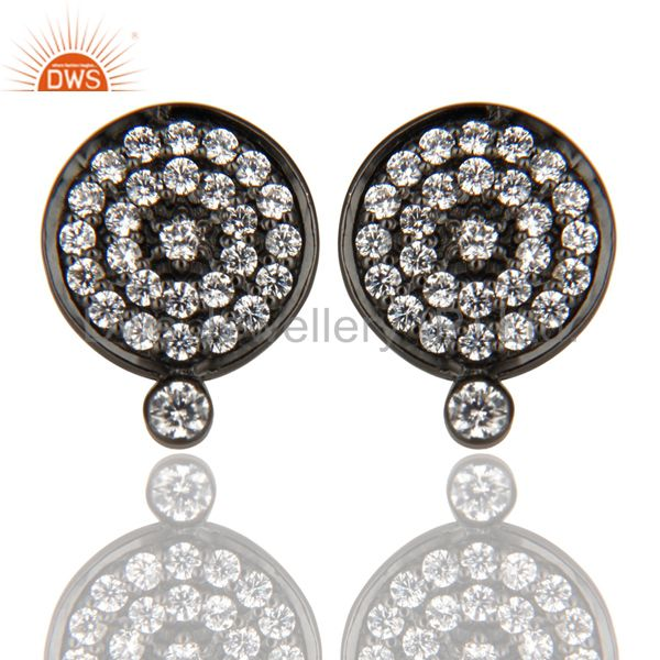 Black Oxidized 925 Sterling Silver Cubic Zirconia Womens Stud Earrings