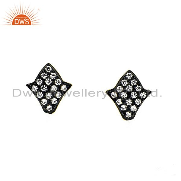 18K Yellow Gold Plated Sterling Silver CZ Womens Fashion Stud Earrings