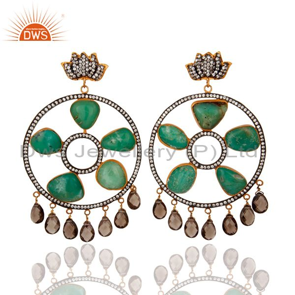 Handmade Green Chrysoprase & Smoky Quartz 925 Sterling Silver Earring With CZ