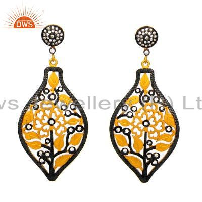 22K Yellow Gold Plated Brass Cubic Zirconia Filigree Fashion Dangle Earrings