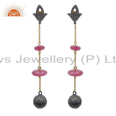 18K Gold Plated Sterling Silver CZ And Pearl Spheres Designer Dangle Earrings
