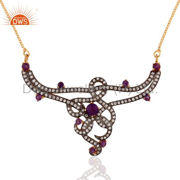 925 Sterling Silver Natural & Amethyst Cubic Zirconia Solitaire Pendant Neckalce