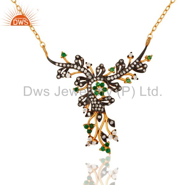 Gold Plated Sterling Silver Antique Style Green & White Cubic Zirconia Necklace