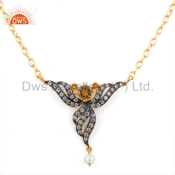 Lady Fashion Zircon Jewelry 5mm Yellow Citrine 18k Gold GP Pendant Necklace Gift