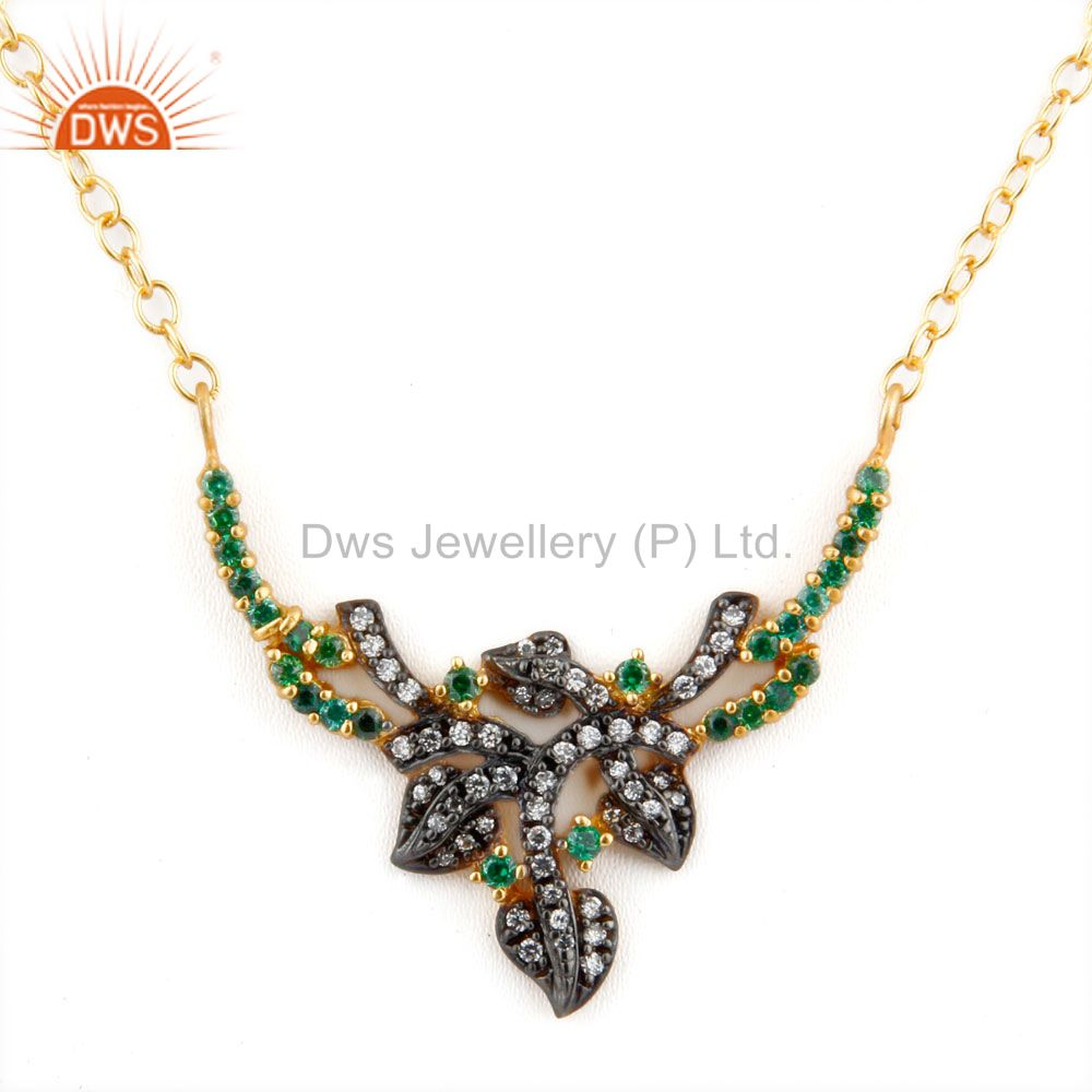 Emerald Green Cubic Zirconia 18K Yellow Gold Plated Ladies Fashion Necklace