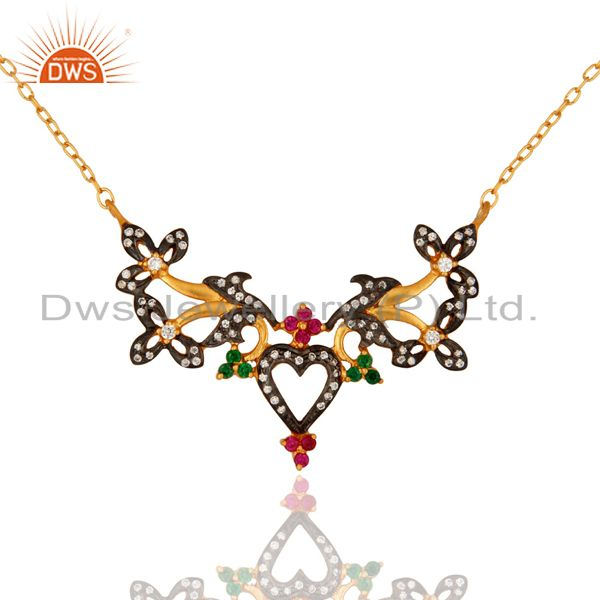 18k Gold Over 925 Sterling Silver Color Cubic Zirconia Designer Chain Necklace