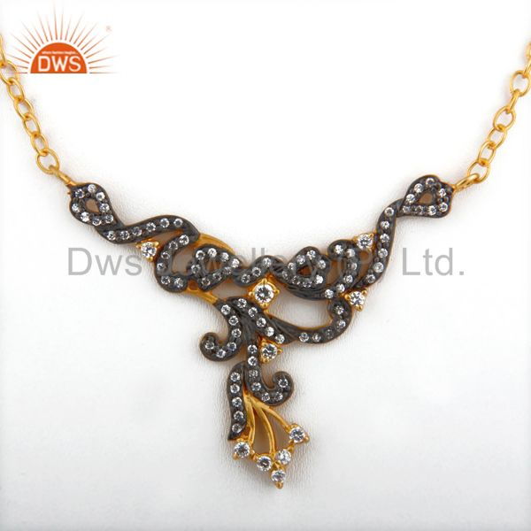 Designer Cubic Zirconia Ladies Fashion Necklace With Yellow Gold Plated