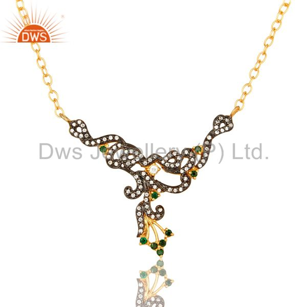 18K Yellow Gold Plated Brass Cubic Zirconia Fashion Designer Necklace