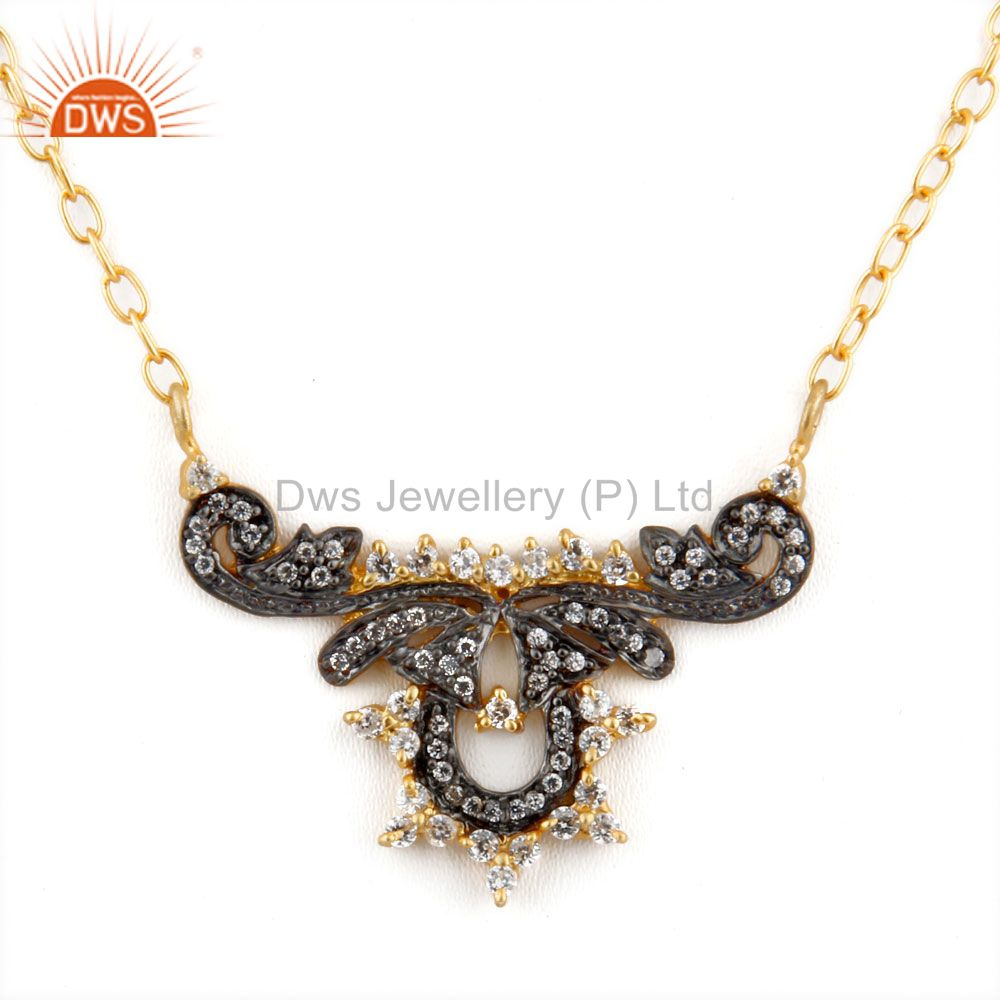 18K Yellow Gold Plated Designer Cubic Zirconia Womens Fashion Necklace
