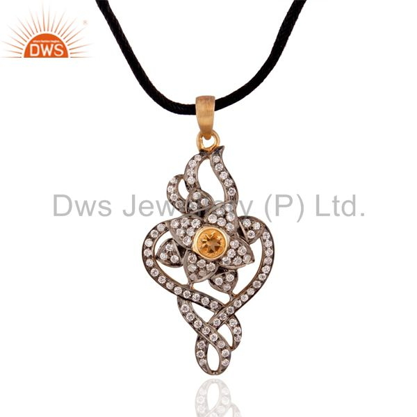 Natural Citrine Pendant With 925 Sterling Silver Cubic Zircon Gold Plated Fashio