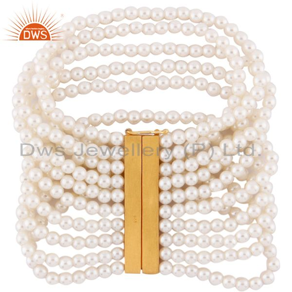 Gorgeous 10 Strands Natural White Pearl Beads Sterling Silver Bracelet