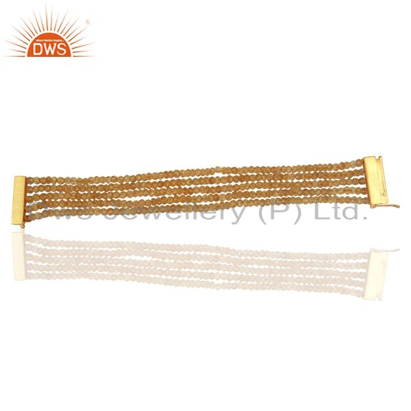 4MM Round Citrine Gemstone Beads 925 Sterling Silver Bracelet Gold Plated