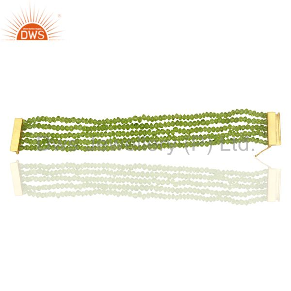 Peridot Multi Strand 18K Yellow Gold Plated Sterling Silver Bracelet Jewelry
