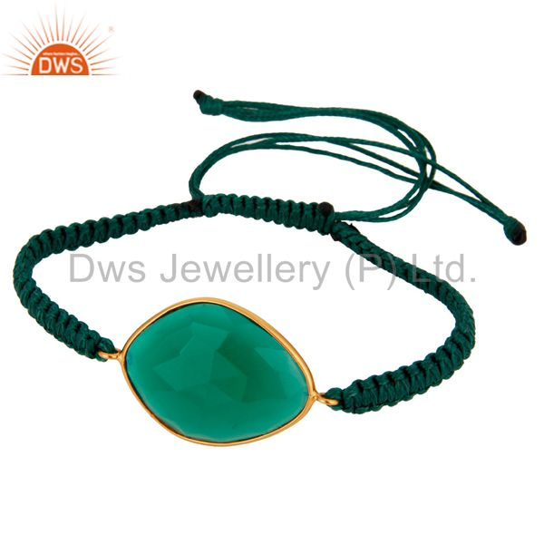 Handmade 925 Sterling Silver Macrame Gold Plated Green Onyx Bracelet Jewelry