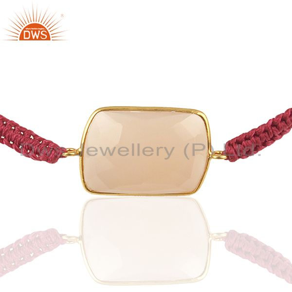 Rose Chalcedony Gemstone 925 Sterling Silver With Gold Plated Macrame Bracelet