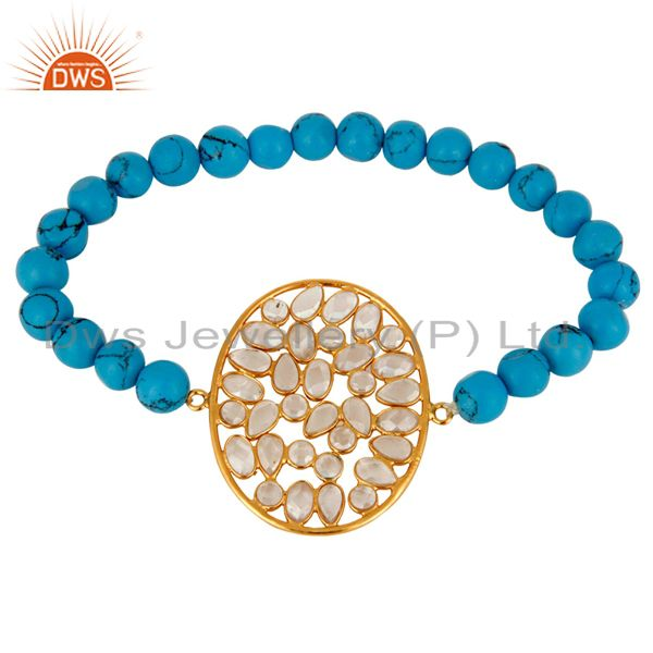 18K Yellow Gold Plated Sterling Silver CZ And Turquoise Beads Stretch Bracelet