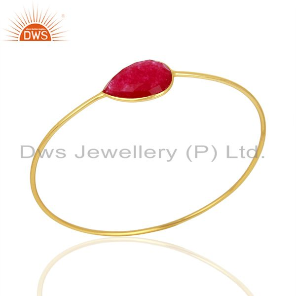 Red Aventurine Gemstone Gold Plated 925 Silver Bangle Jewelry Supplier