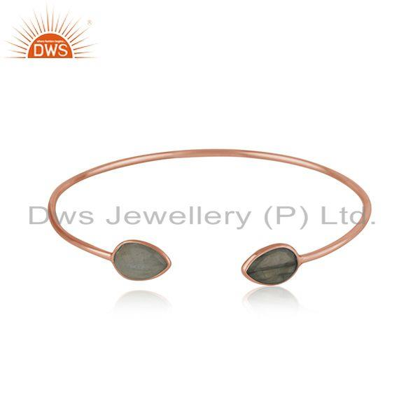 Labradorite Gemstone Rose Gold Plated 925 Silver Simple Cuff Bangle Manufacturer