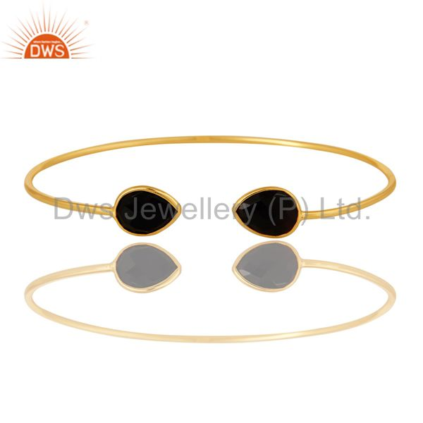 Shiny Yellow Gold Plated Sterling Silver Adjustable Bangle With Black Onyx