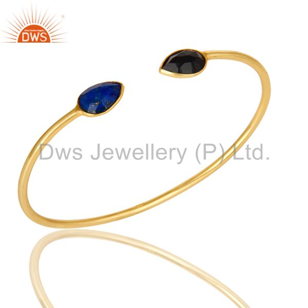 22K Yellow Gold Plated Sterling Silver Lapis Lazuli And Black Onyx Open Bangle