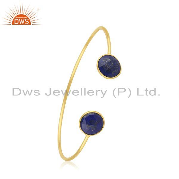 Lapis Lazuli Gemstone Gold Plated 925 Silver Simple Cuff Bracelet Manufacturer