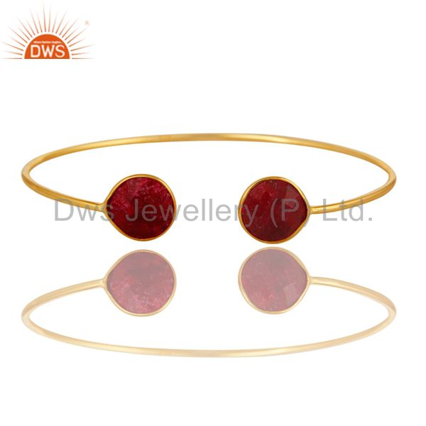 Handmade Ruby Red Corundum Sterling Silver Bangle - Yellow Gold Plated