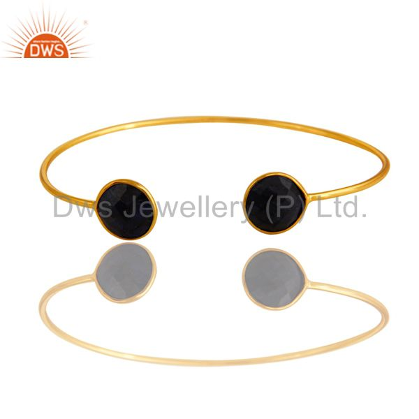 Solid Sterling Silver Sapphire Blue Corundum Adjustable Bangle - Gold Plated