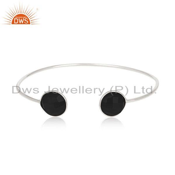 Black Onyx Gemstone 925 Silver Cuff Bracelet Jewelry Manufacturer for Brands