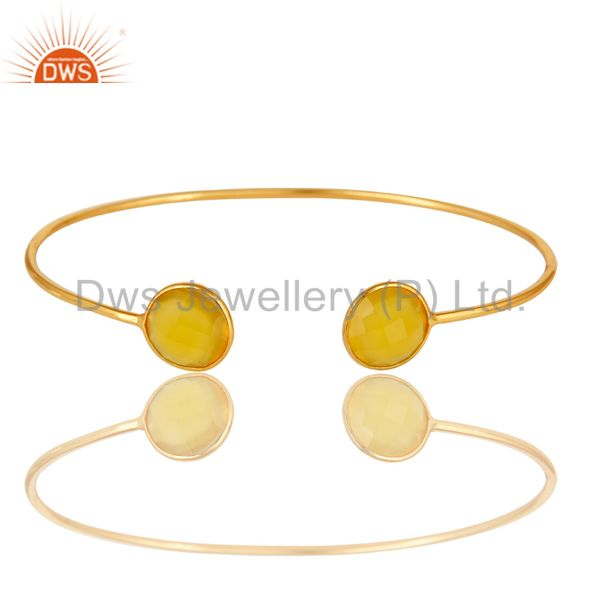 18K Gold Over Sterling Silver Bezel-Set Yellow Chalcedony Bangle / Bracelet
