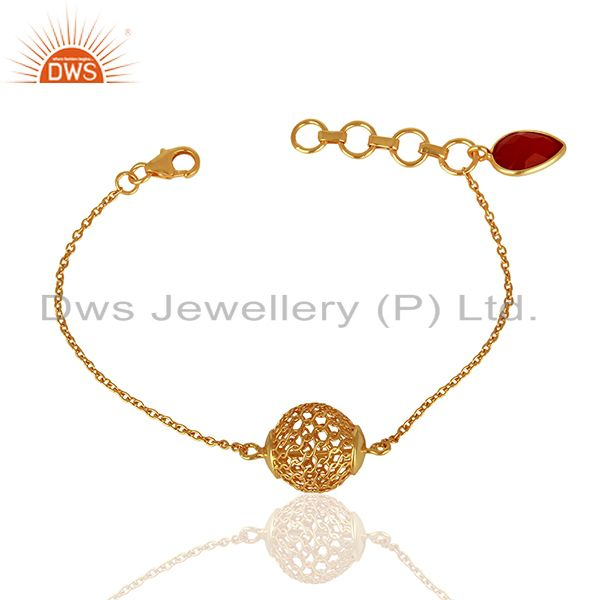 Red Onyx Designer Gold Plated  Silver Chain Bracelet Jewelry wholesale