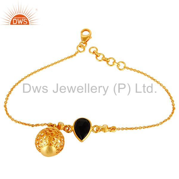 14K Yellow Gold Plated Sterling Silver Black Onyx And White Topaz Bracelet