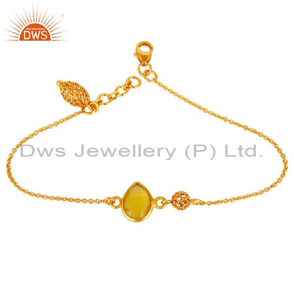 14K Yellow Gold Plated Sterling Silver Yellow Chalcedony Designer Chain Bracelet