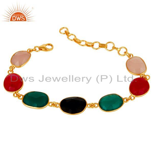 Aventurine Onyx and Chalcedony Multi Color Handmade Gold Plated Silver Bracelet
