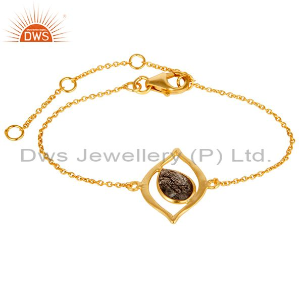 14K Yellow Gold Plated 925 Silver Black Rotile Gemstone Bracelet