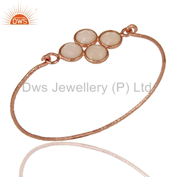 18k Rose Gold Plated Sterling Silver Charm Fashion Dyed Chalcedony Bangle