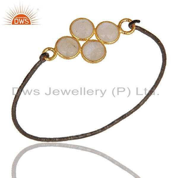 18K Gold Plated & Black Oxidized 925 Sterling Silver Rainbow Moonstone Bangle