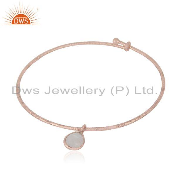 Rose Gold Plated Textured Silver Rainbow Moonstone Bangle Jewelry