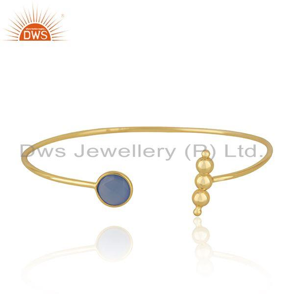 Designer Gold Plated Silver Blue Chalcedony Cuff Bangle Jewelry